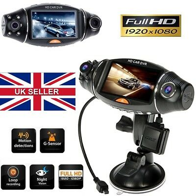 Dual Lens 2.7'' HD Car CCTV Vehicle Video Camera Dash Cam Recorder Night Vision