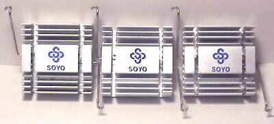"3 Matched SOYO Aluminum Heat Sinks 1-15/32"" Square 9/16"" High w Spring Clips VGC"
