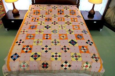 FOR RESTORATION Vintage ANTIQUE 19th Century Fabrics, Feed Sack NINE PATCH Quilt