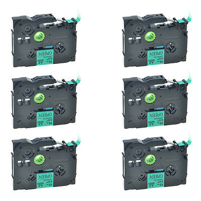6PK TZ-731 TZe-731 Black on Green Label Tape For Brother P-Touch PT-1880 12mmx8m