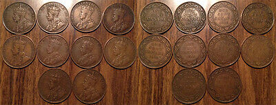 1911 to 1920 King George V Canada Large Cents Lot of 10 coins Grade VG-VF+ !!