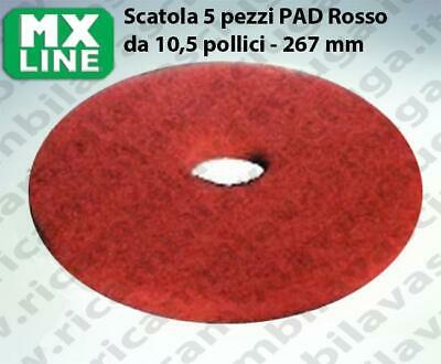 MAXICLEAN PAD, 5 peaces/box , Red color  10,5 inch - 267 mm | MX LINE