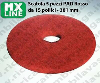 MAXICLEAN PAD, 5 peaces/box , Red color  15 inch - 381 mm | MX LINE