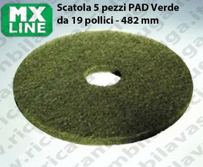 MAXICLEAN PAD, 5 peaces/box , Green color  19 inch - 482 mm | MX LINE