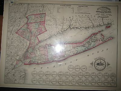 New York City & Long Island / Lower State Topographical Map1871 Brooklyn Queens