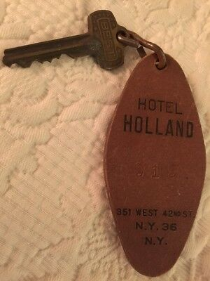 HOTEL HOLLAND - 42nd ST NYC -Vintage Cardboard Hotel Room Fob & Key