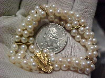 14k SCRAP Gold Clasp Spacers VINTAGE 3-Strand 75-Pearls Akoya Cultured Pearls