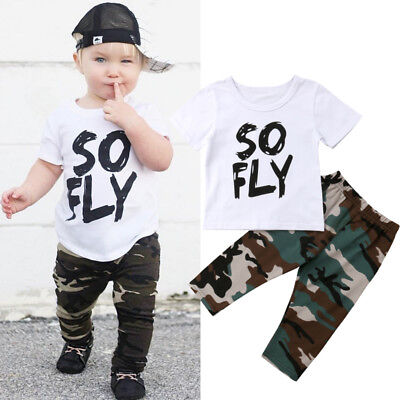 AU Newborn Toddler Kids Baby Boys Tops T-shirt Camouflage Pants Outfits Clothes