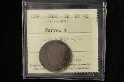 "1859 Canada. Large Cent. ""N9"". RP9 (Haxby P4A Rev.) ICCS Graded EF-40. (XZB714)"