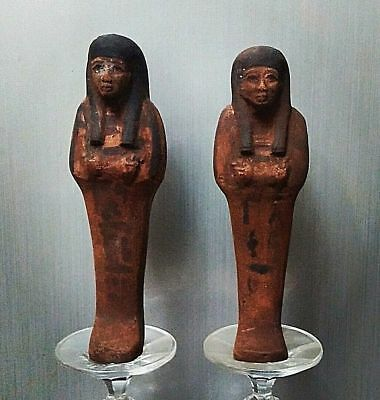 ANCIENT EGYPTIAN EGYPT a pair of faience ushapti (300-1500 BC)