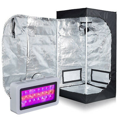 300W Full Spectrum LED Grow Light + 600D Mylar Grow Tent Hydroponic Systems Kit