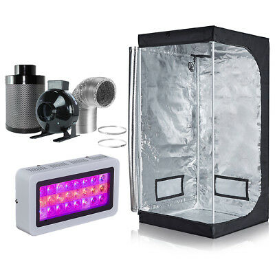 "300W LED Grow Light + Grow Tent + 4"" Inline Fan Carbon Air Filter Ducting Combo"
