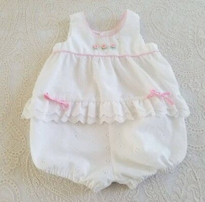 Vintage Retro Baby Girl White Eyelet Romper Childrens Clothes Outfit 18m