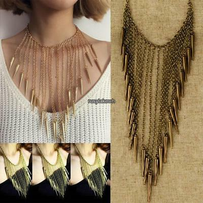 Women Casual Antique Bronze Vintage Style Spiked Rivet Long Tassel RLWH