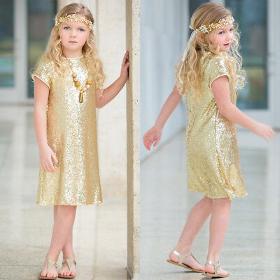 AU Sequins Baby Kid Flower Girl Dress Party Pageant Gown Princess Dress Sundress