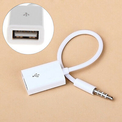 3.5mm Male AUX Audio Plug Jack to USB 2.0 Female Converter Cable Cord weiß`.,