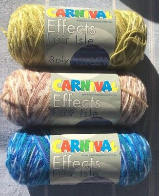 Carnival Effects Fair Isle Knitting Yarn X 3 Balls Mixed Colours