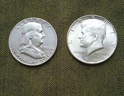 US Half Dollars ( 90% Silver ) - Franklin 1956P & Kennedy 1964D