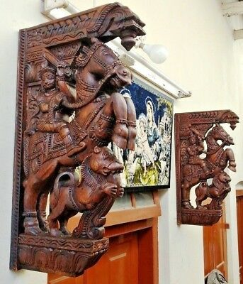 War Horse Wooden Wall Bracket Corbel Pair Sculpture Statue Vintage Home Decor