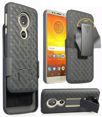 Black Kickstand Case Cover + Belt Clip Holster for Motorola Moto E5 XT1944