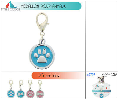 Medaille Medaillon Collier Animaux Chien Chat Motif Patte Os