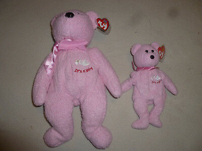 New W Tag Ty Beanie Babies Baby Girl Its A Bear Set Lot Pink Large Small Nwt >>