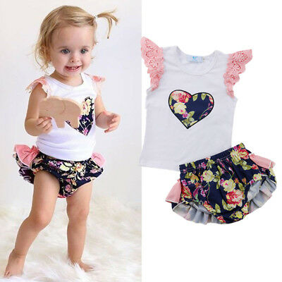 AU Canis Newborn Baby Girl Floral Lace Heart Tops T-shirt Shorts Outfit Clothes
