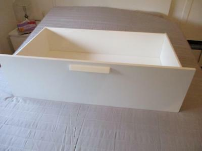 2 x White IKEA Timber Queen Bed Storage Drawers with bottom side rails Brimnes