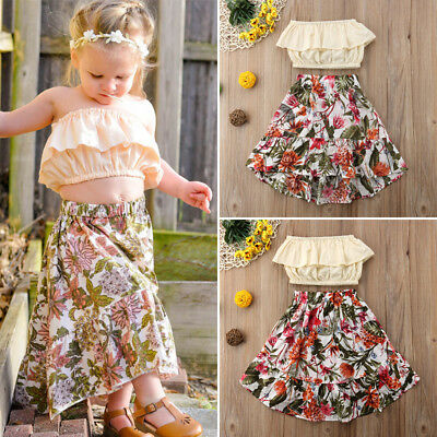 AU Floral Kids Baby Girl Ruffled Wrapped Chest Party Skirt Dress Outfits Sunsuit
