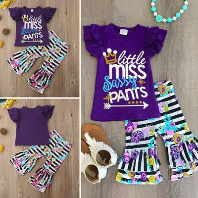 AU Kids Toddler Girls Outfits Casual T-shirt+Striped Floral Pants Set Clothes