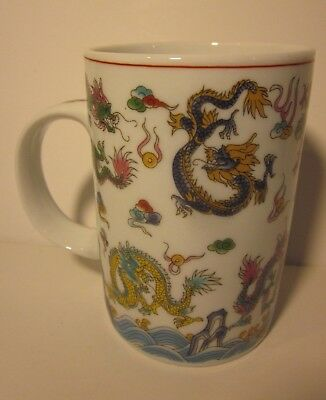 "Chinese Dragon 4.25"" Porcelain Mug Vintage China Cup Classic Style Retro Asian"