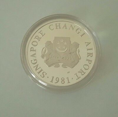 Singapore 1981 Changi Airport Silver $5 proof coin