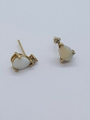 White Opal and Diamond Earrings 9k Yellow Gold