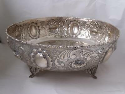 Large Heavy Embossed 830 Standard Solid Silver Bowl/ Dia 29 cm/ 923 g