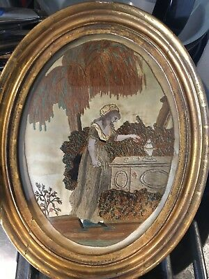 Antique Silk Embroidered Mourning Picture