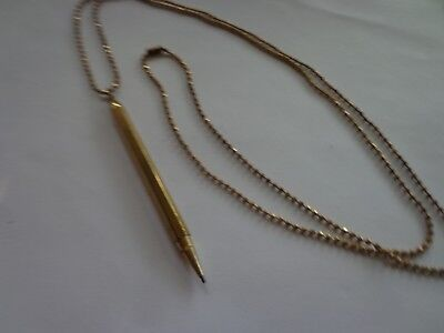Antique Victorian Art Deco Pendant Pencil On Bead Chain Unmarked Gold Filled