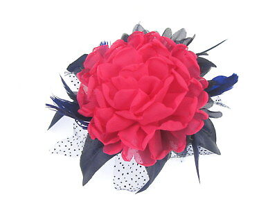 Navy and hot pink chiffon comb fascinator for Ascot , Races, Weddings