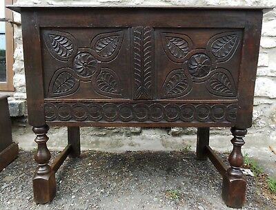 Antique carved oak small COFFER ON STAND 17th Century & later blanket box pegged