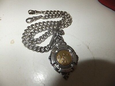 Lovely silver Vintage double albert watch chain / fob . wow.1902