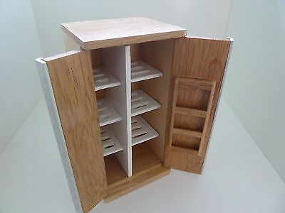 Dolls House Miniature 1:12th Scale Furniture Kitchen Utility Oak Larder Fridge