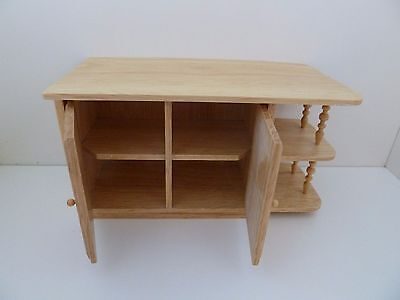 Dolls House Miniature 1:12th Scale Oak Cabinet Opening Doors Kitchen Furniture