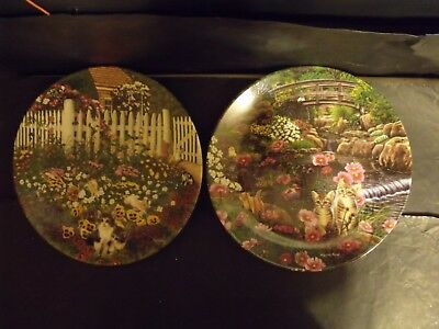 2 Garden Secrets Series Cat Plates