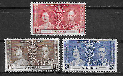 Nigeria , Coronation Issue,1937, George Vi & Elizabeth , Set Of 3 , Mnh
