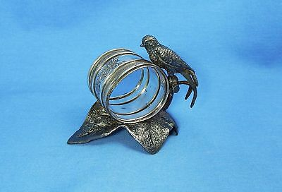 Antique Figural Silverplate Napkin Ring Bird on Leaf Meriden 202 Silver Plate