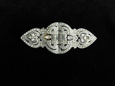 VINTAGE ART DECO CORO HUGE DUETTE RHINESTONE DRESS CLIP PIN BROOCH 1930s