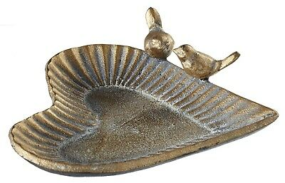 Heart Shaped Trinket Dish With Two Birds Golden Cast Iron