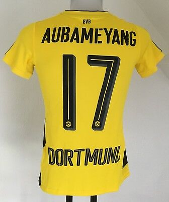 Borussia Dortmund 2017/18 S/s Home Shirt Aubameyang 17 By Puma Size Ladies Uk 12
