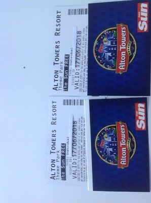 Two Alton Towers Tickets For Sunday 17 June