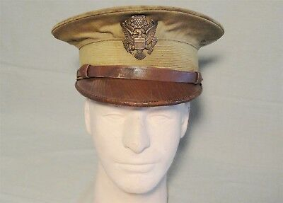 Original WWI US Army Officer Hat with Bronze Eagle - Named from Pitts. PA - WW1