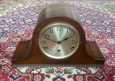 Vintage 8 Day Westminster Chiming German Mantel Clock,wood Case,3 Train Movement